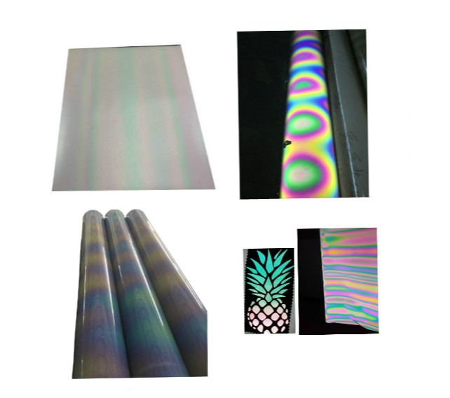 new rainbow iridescent multi color flex heat transfer printing reflective pu film vinyl foil material for t-shirt logo sticker