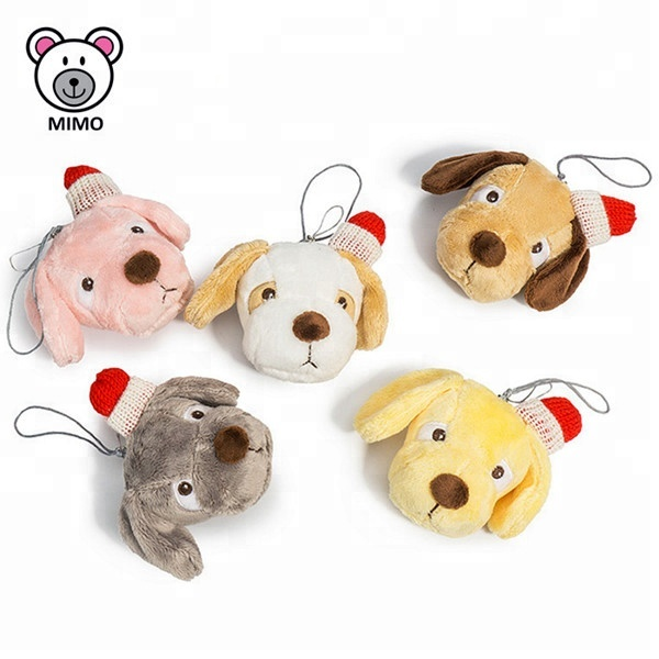 Various Stuffed Animal Head Plush Toy Dog Keychain Keyring With