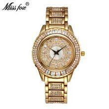 Часы MISSFOX женские золотые, для вечеринок, часы женские с кристаллами, модные, китайские, Роскошные, брендовые, золотые, женские, кварцевые, на...(Китай)