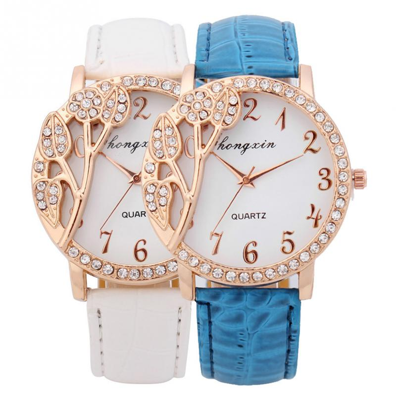 2015 Hot Sale Auto Date Acrylic Women Watches New Fashion Elegant Women Lady Leather Quartz Analog Wristwatch Watch 2 Colors