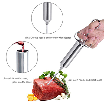 Full Stainless Steel 304 Marinade Meat Injector for Kitchen Cooking