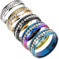 Hot selling fashion single row stainless steel diamond-encrusted rings