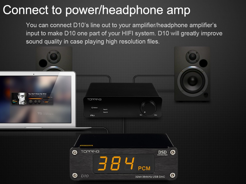HIFI Amplificatore Decoder TOPPING D10 MINI USB DAC CSS XMOS XU208 ES9018K2M OPA2134 Amplificatore Audio Decoder