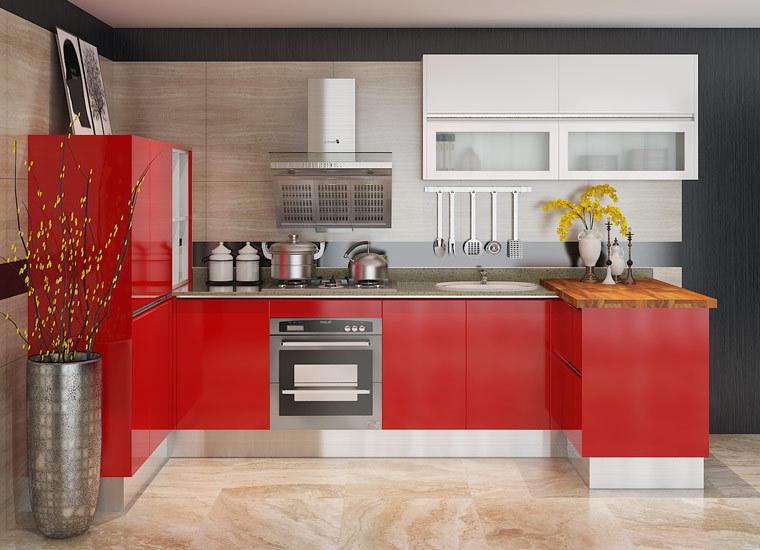 Oppein hoogglans rode modulaire lak mdf keukenkasten voor kleine keuken buy product on - Aardewerk rode keuken ...