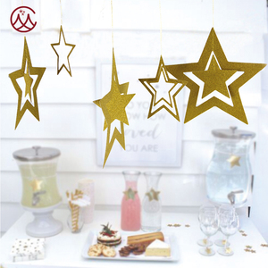 Hanging gold glitter paper star for party decoration
