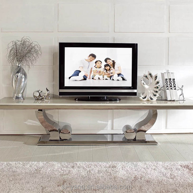 Modern Rotatable Metal Glass Lcd Tv Stand For Sale