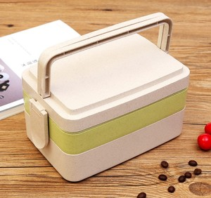 3 Layers Plastic Lunch Box Wheat Starch Biodegradable Tiffin Box Lunch