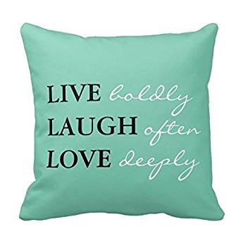 "Life Come With ""Living"" ,""Laughing"" And ""Loving"" Pillow Decorative Inspirational Quotes Pillow Cover Square Throw Pillow Case Cover Quotes Two Sides Zippered Pillowcase Pillow Cover 18x18 inches"
