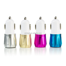 Aluminium alloy 12V Metal Dual ports Usb battery car charger, car charger adapter