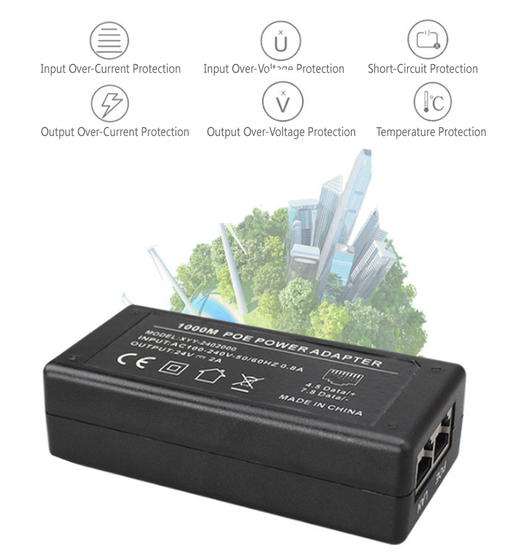 Active and Passive 100Mbps/1000Mbps 24V 2A POE Power Adapter for Gateway IP