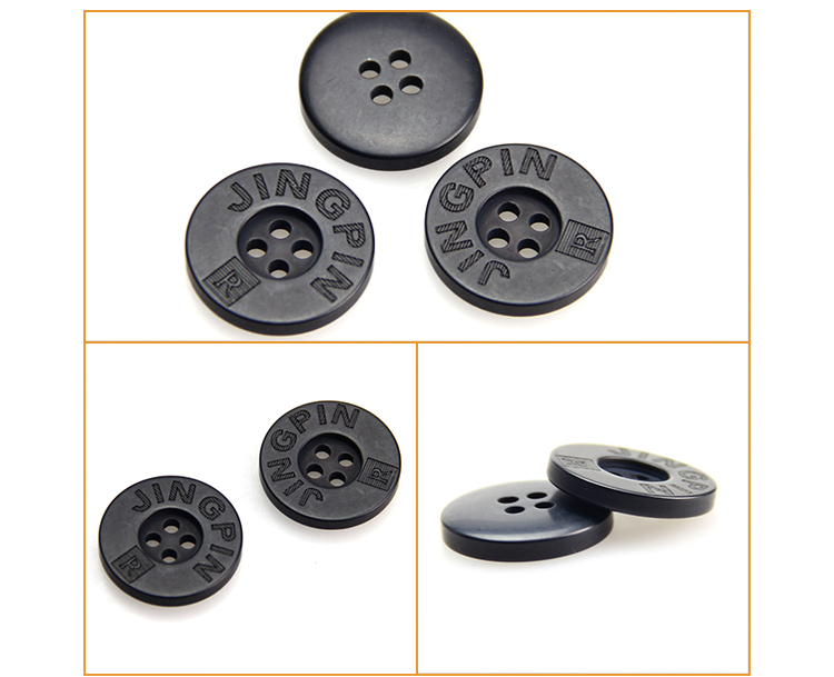Hot selling durable metal rim polyester resin button for shirt