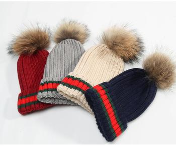 760ca40eecc Knitted Beanie Faux Fur Pom Pom Bobble Hat