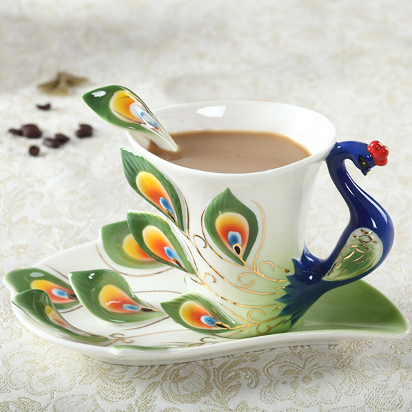 Peacock Coffee Cup Ceramic Creative Mugs Bone China 3D Color Enamel Porcelain Cup with Saucer and Spoon Coffee Tea Sets