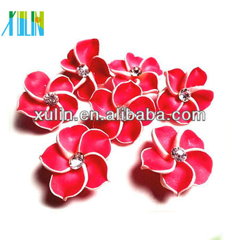 wholesale red color plumeria bead polymer clay flower