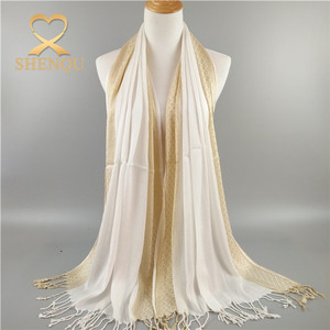 New style tassels scarf with gold wire shiny muslim hijab shawl scarf