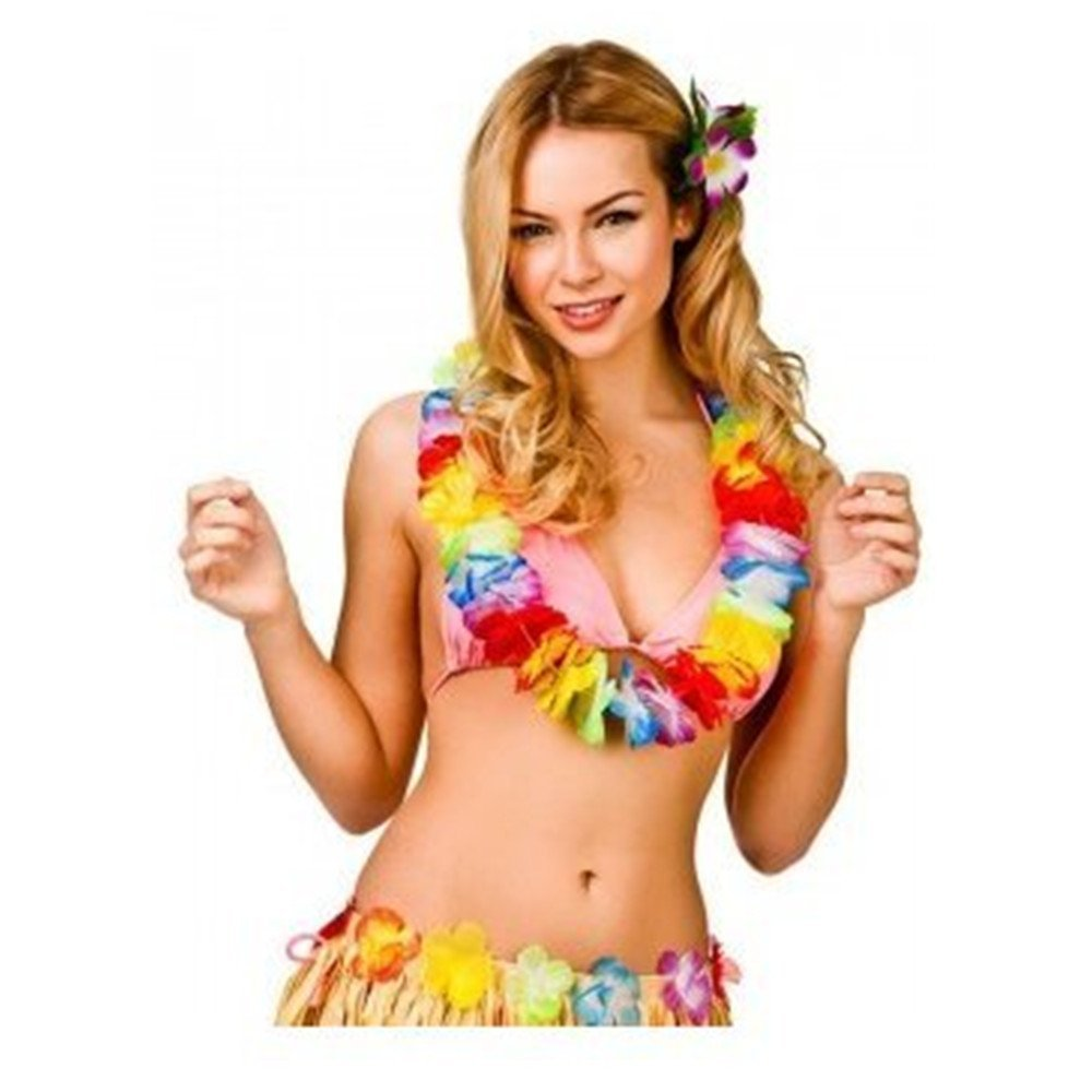 afe650ec Get Quotations · Jumbo Party Bag,Hawaiian Ruffled Simulated Colorful Silk  Flower Leis Necklaces for Tropical Island Beach