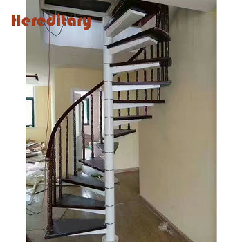 Attic Cherry Wood Stair Treads Snail Cast Iron Spiral Stairs Grill