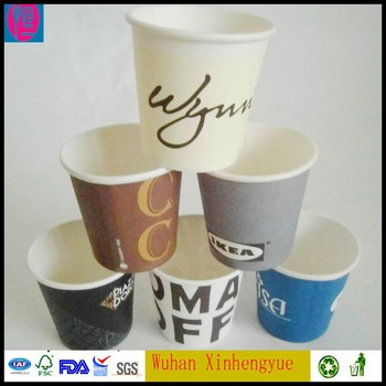 4 Oz Disposable Coffee Cups With Custom Printed Well Distributed Pe