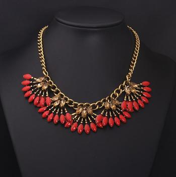 High fashion costume jewelry gold red beaded necklace brazilian