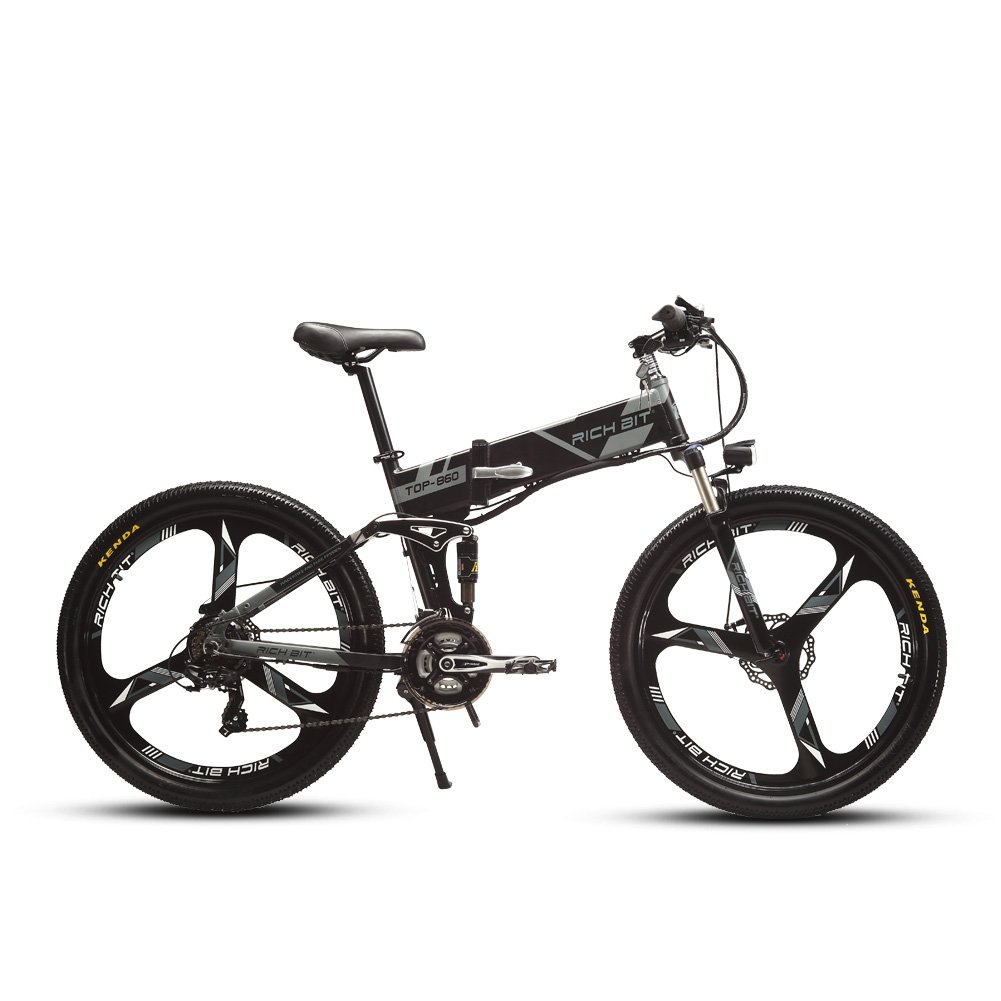 Cyrusher RT860 Folding Electric Bike 26 inch Mountain Bicycle Full Suspension 36V8AH Hidden Battery Shimano 21 Speeds Double Mechanical Disc Brake