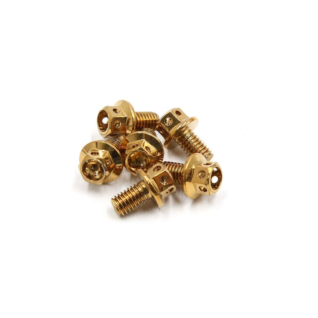 uxcell 6Pcs Gold Tone Titanium Alloy Motorcycle Bolts Screws Fastener M6 x 10mm