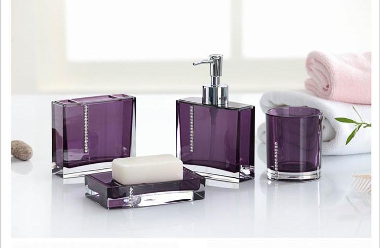 Acrylic Bathroom Set 4pcs In One Purple Bath Set Bathroom Accessories Bath Accessories Set My Dr Plumber