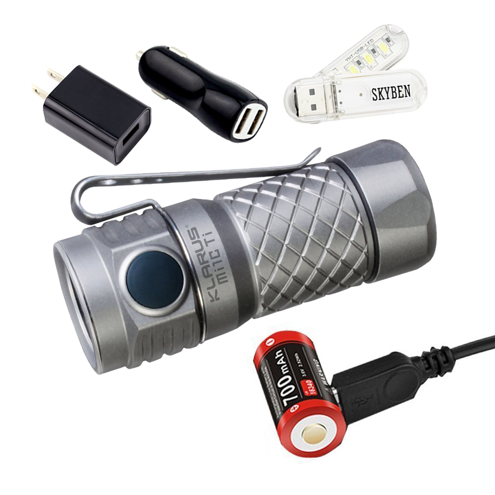 Klarus Mi1C 600 Lumens CREE XP-L HI V3 LED Side Switch EDC Flashlight 16340 Mini Bright Flashlight, with 1x16340 Battery,Charging Cable,O-ring and SKYBEN USB Light (Titanium)