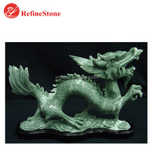 handcarve Burmese jade dragon statue,large carved Myanmar green jade animal sculpture for decoration