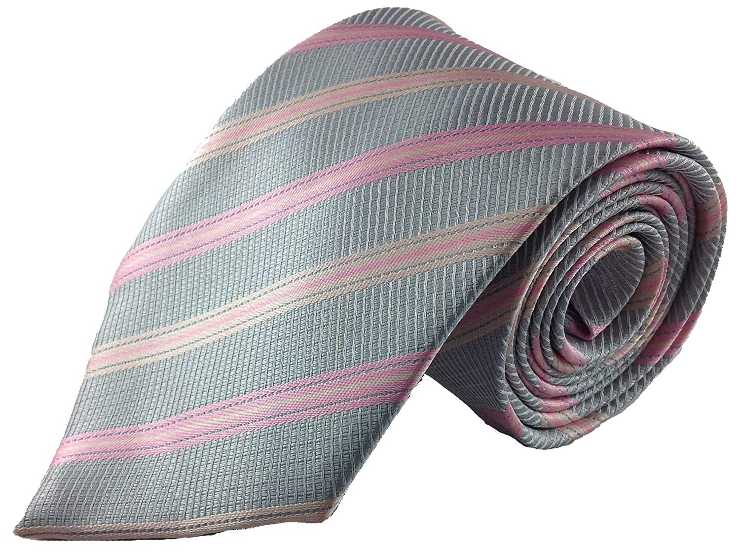 0df2071715a Buy Mens Tie Silver with Classic Pink Stripe Silk Fashion Necktie in ...