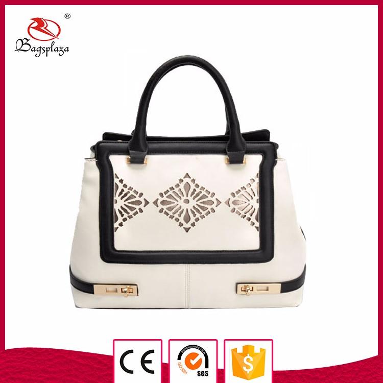 Alibaba guangzhou wholesale bag women handbag white black handle handbags  ladies f22f2eba7ef11
