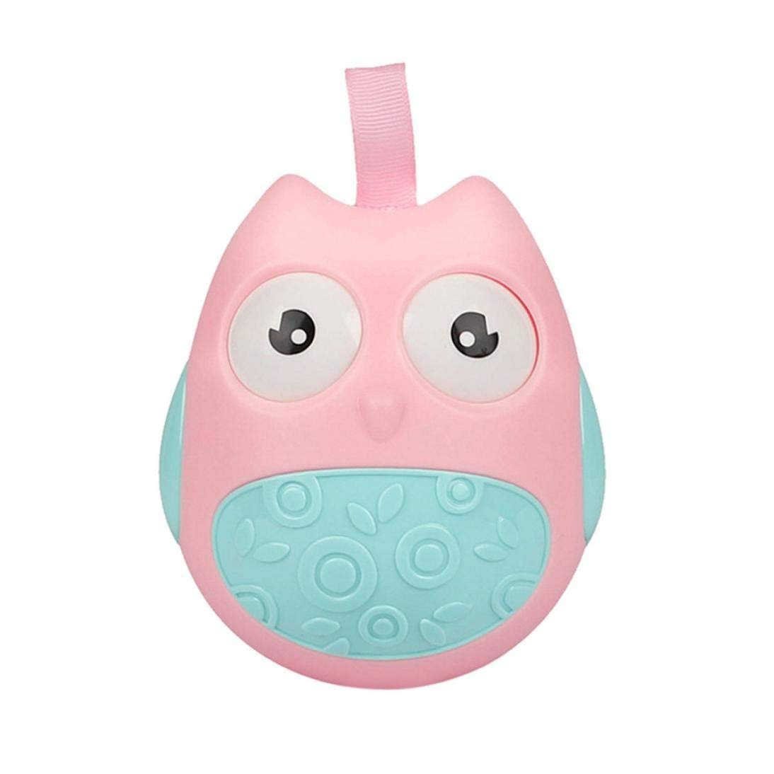 Gbell Cute Owl Tumbler Rattle Toys For Infants, Roly-Poly Toddler Stroller Educational Toys For Baby Girls Boys 0-36 Months,Pink,Green