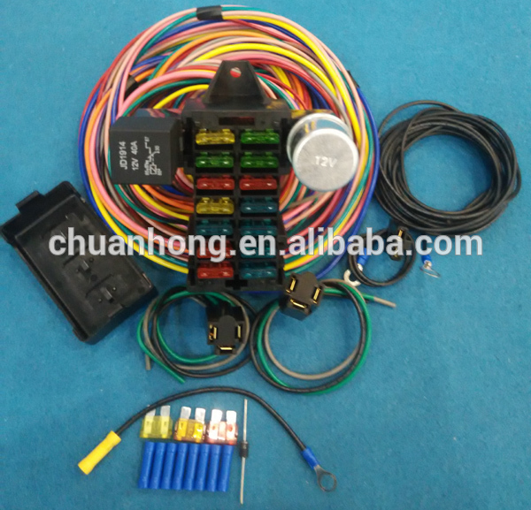 wire harness box cnch14 circuit hotrod wiring kit relay fuse box panel chevy mopar wire harness board accessories cnch14 circuit hotrod wiring kit relay