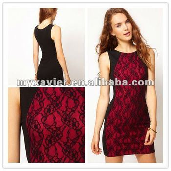 Red and black lacy dresses cheap