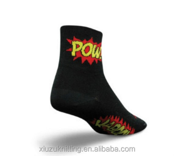 Low cut and lightweight black socks with a bright POW