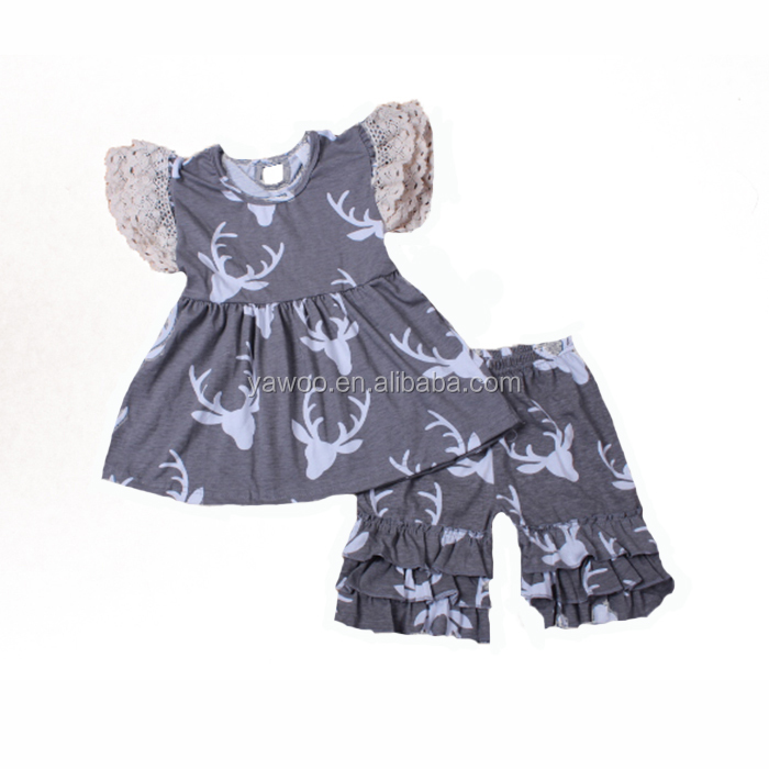 2017 toddlers clothing reindeer print flutter tunic with shorts wholesale kids clothes summer baby apparel outfits clothing