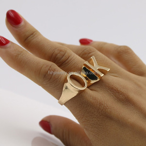 18k gold plated letter alphabet rings ally express cheap wholesale ring