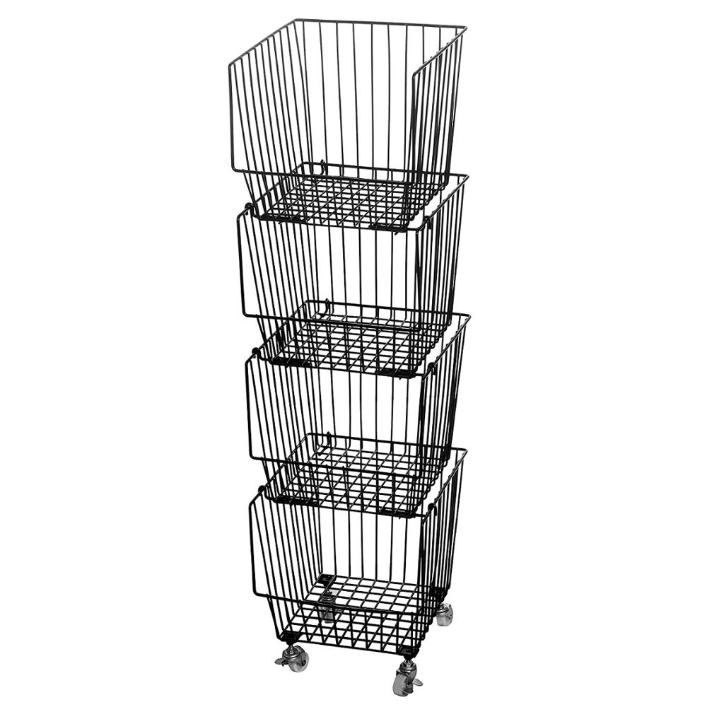 4 Baskets Storage Stacking-Bins Rolling Metal Wire-Market-Basket Pantry Organizer w//Wheels
