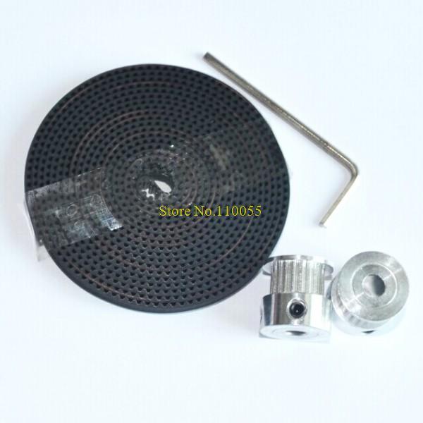 2 шт. 20-GT2-6 GT2 ролик и 2 м gt2-6мм открыть GT2 пояс для 3d-принтер ( 4xM3 винты и 1 xAllen ключ )