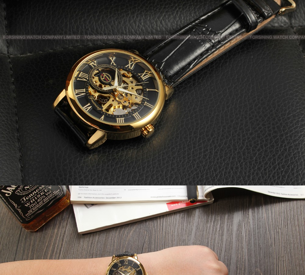 2017 Forsining mechanical watch saat man hour clock custom men luxury brand automatic