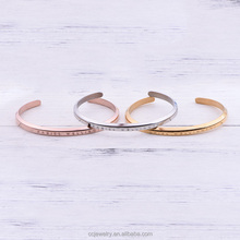 Wholesale Custom Logo 316L Stainless Steel Jewelry Engraved Inspirational Stampe Message Bangles Cuff Bracelets For Women