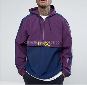 Half zip nylon pullover men jacket custom