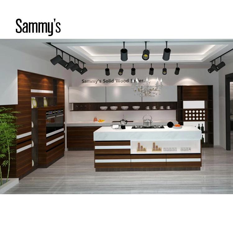 SK006 Wood Veneer and PVC Kitchen Cabinet Modern Kitchen ...