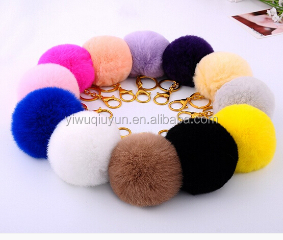 Fashion Hot Furry Ball Keychain Bag Key Hanging Tail Accessories Rabbit Fur Key Ring