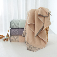 jacquard flowered towels bath set luxury hotel 100% cotton