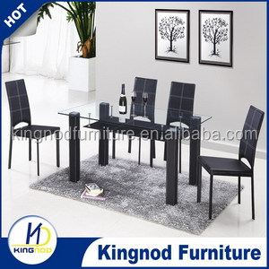 elegant dining room table set !tempered glass and MDF with black hard PVC dining table
