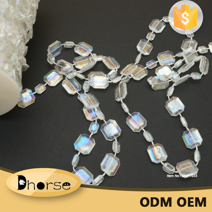 Crystal Chandelier Prism plastic 15MM Octagon Bead Garland Wedding Chain Trim