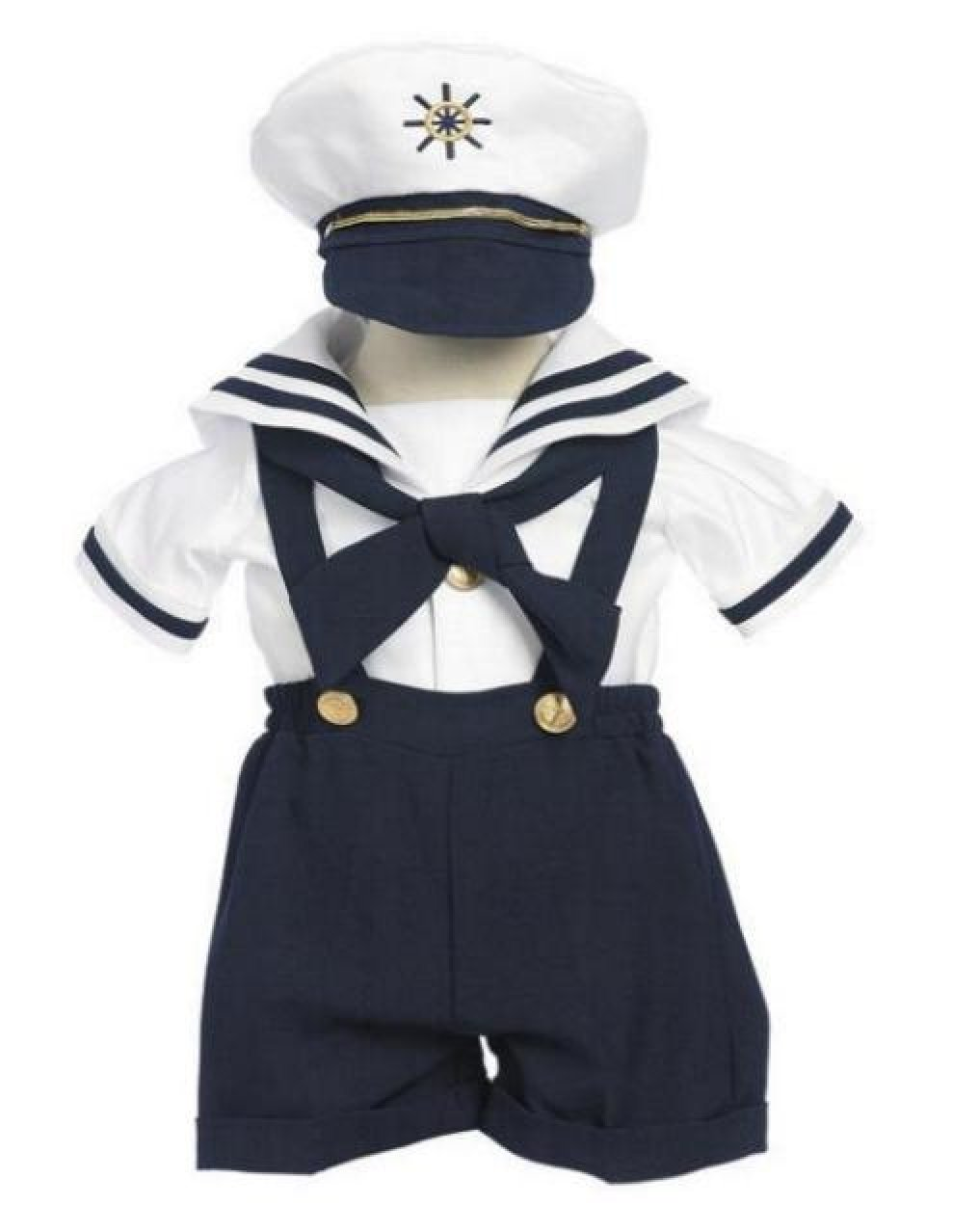 bf33774b0aab1 Get Quotations · Deluxe Boys Sailor Shorts Suit with Suspenders   Hat  Infants   Toddler s