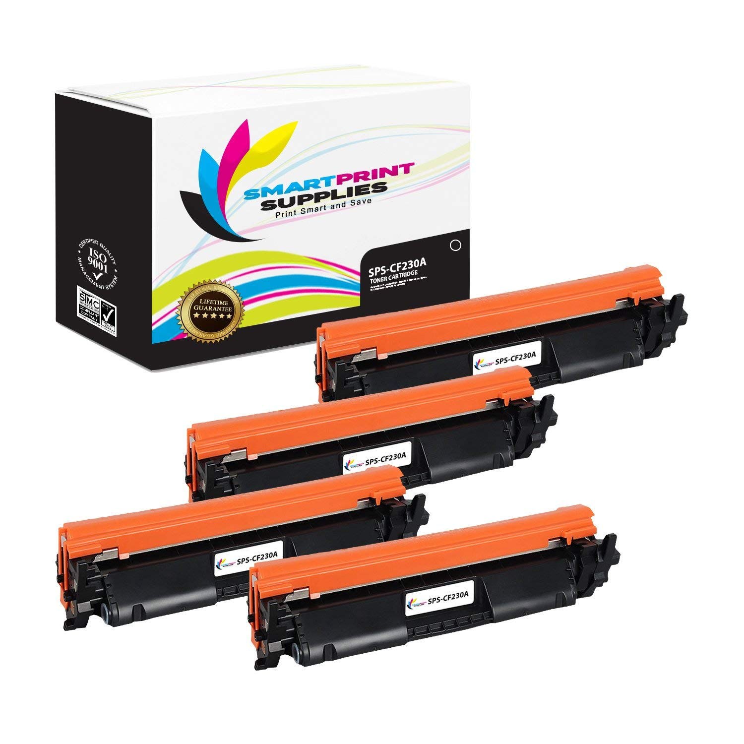 Smart Print Supplies CF230A 30A with CHIP Compatible Black Toner Cartridge Replacement for HP Laserjet Pro M203 MFP M227 Series Laser Printers (1,600 Pages) - 4 Pack