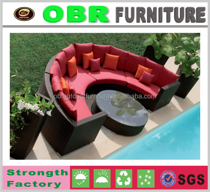 cheap outdoor sectional rattan half round sofa set china