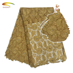 2017 indian gold polyester guipure embroidery lace fabric with rhinestone for party wedding dresses